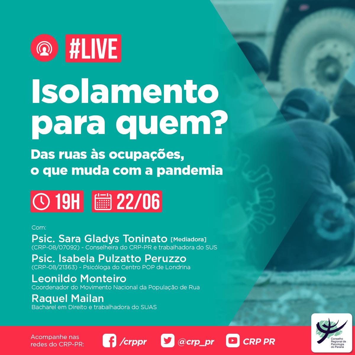 Live | Isolamento para quem? Das ruas às ocupações, o que de fato muda com a pandemia