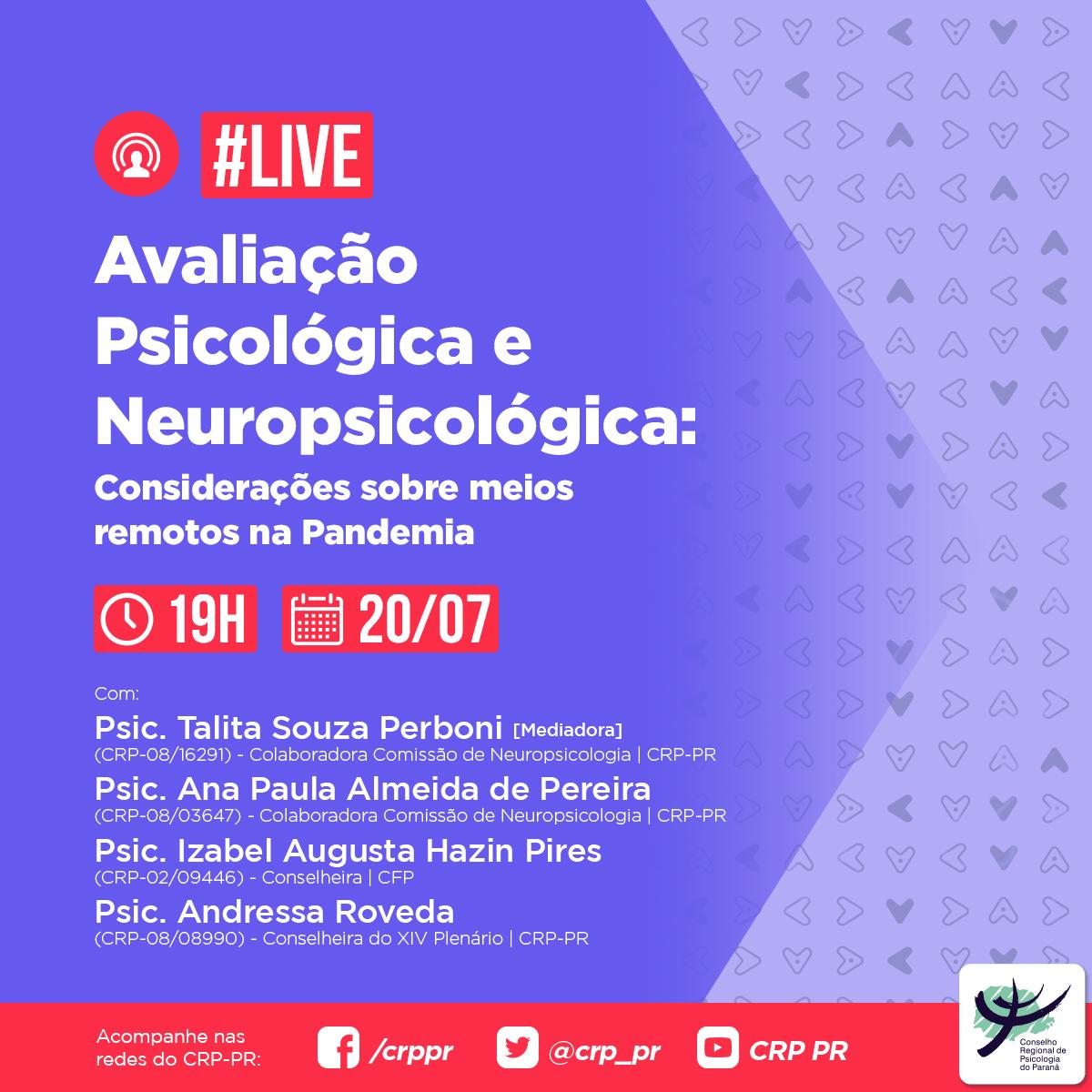 Live | Avaliação Psicológica e Neuropsicológica: considerações sobre meios remotos na pandemia