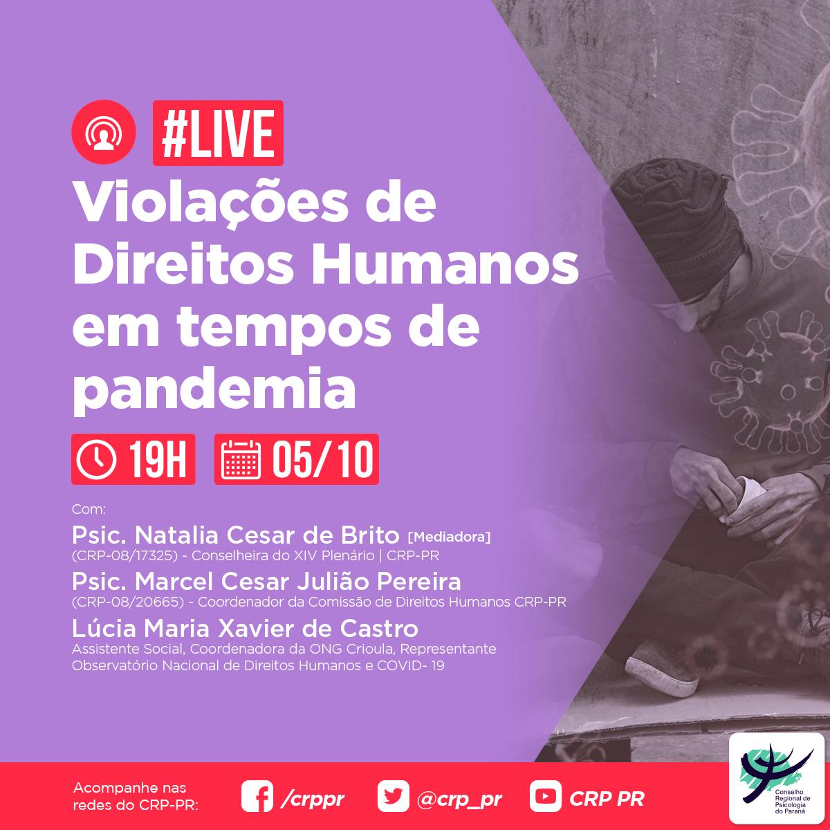 Live | Violações de Direitos Humanos em tempos de pandemia